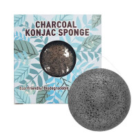 [Trimay] Спонж конняку с древесным углем, Charcoal Konjak Sponge (в коробочке)