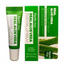 [FarmStay] Бальзам для губ с алоэ, Real Aloe essential lip balm, 10 мл.