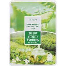 [DEOPROCE] Успокаивающая тканевая маска на основе экстрактов алое и зеленого чая, 20 гр.